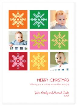 Snowflake Squares Holiday Photo Cards