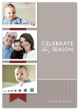 grosgrain ribbon Holiday Photo Cards
