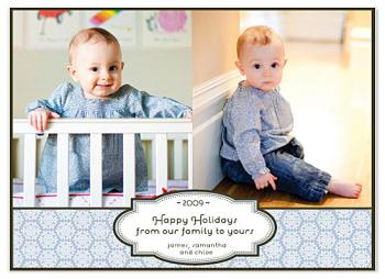 ribbon and seal double image Holiday Photo Cards