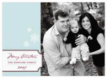 Bookplate and Snowflakes Holiday Photo Cards