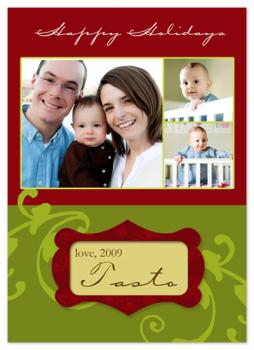 Classic elegant floral Holiday Photo Cards