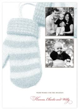 warm winter mittens Holiday Photo Cards