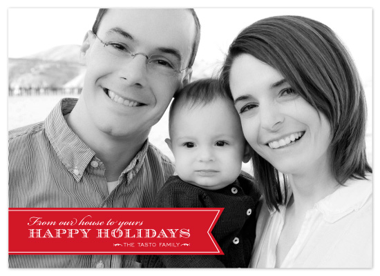 holiday photo cards - Red Ribbon Happiness by Coco Paperie