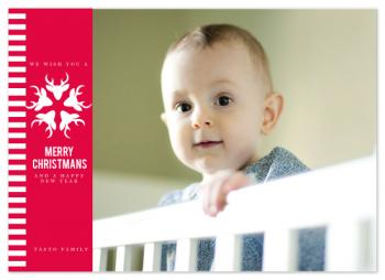 red stripes Holiday Photo Cards