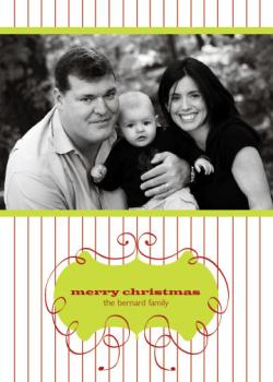 Pin Stripes & Lime Holiday Photo Cards