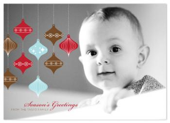 Patterned Retro Ornaments Holiday Photo Cards