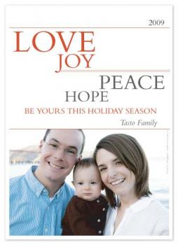 Love Joy Peace Hope Holiday Photo Cards
