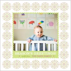 Bubbles In Lime Holiday Photo Cards
