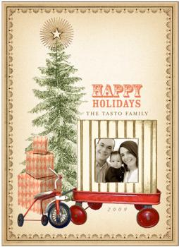 Old Red Wagon Holiday Photo Cards