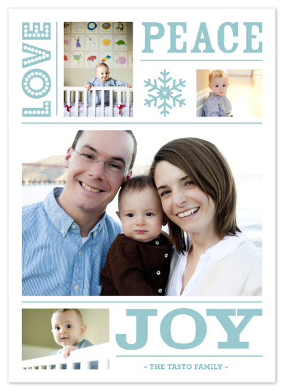 holiday photo cards - love peace joy by n+s
