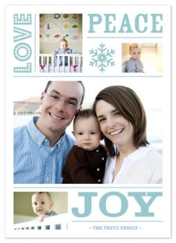 love peace joy Holiday Photo Cards