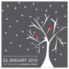 Winter Love Birds Save the Date Cards