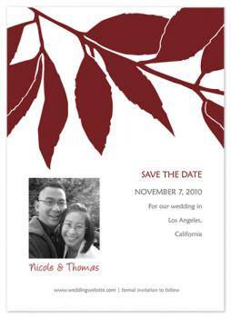 silhouette of leaves Save the Date Cards