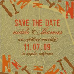 the golden leaf Save the Date Cards