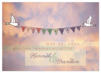 Floating Spring Banner Save the Date Cards
