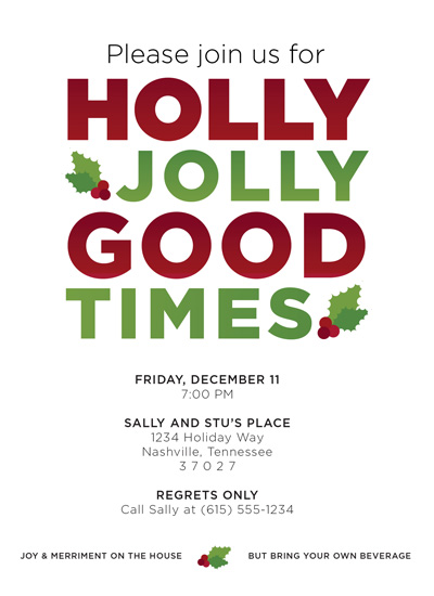 party invitations - HollyJollyGoodTimes by JessLehry