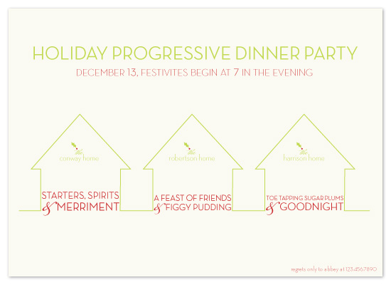 party invitations - progressive dinner party by sweet street gals