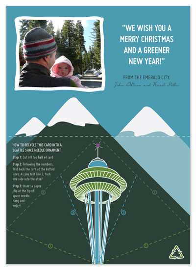 Seattle Space Needle Ornament   Holiday Photo Cards