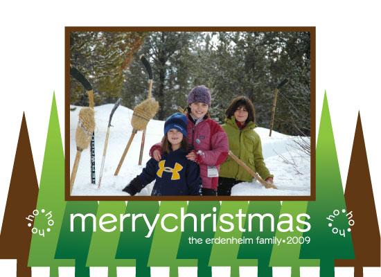 holiday photo cards - GreenAndBrownTrees by Lisa Travis