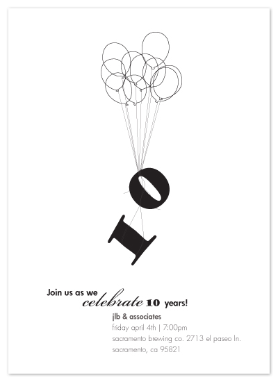 ten ballons Party Invitations