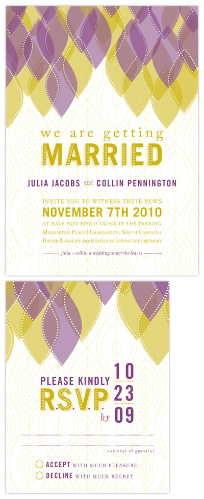 Layered Leaves Wedding Invitations