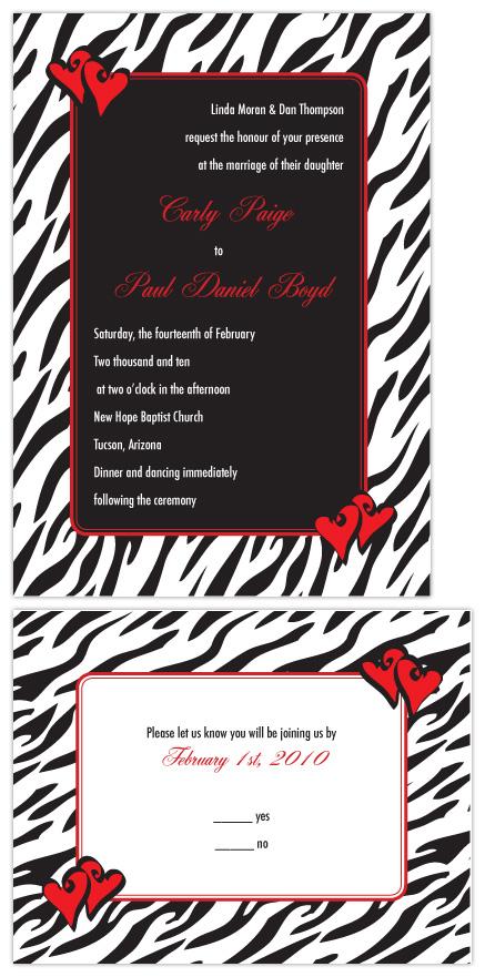 wedding invitations Wildly in Love Zebra Print with Hearts by Joyful Heart