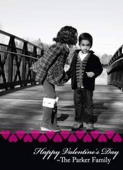 Black & White Photo Card w/ Stripe Valentine's Day
