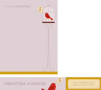 Birdcage Note Personal Stationery
