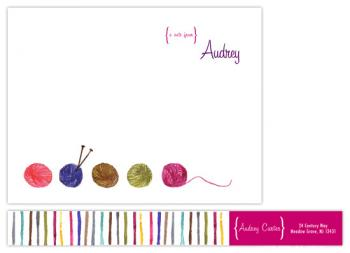 Knit One Purl Two Personal Stationery