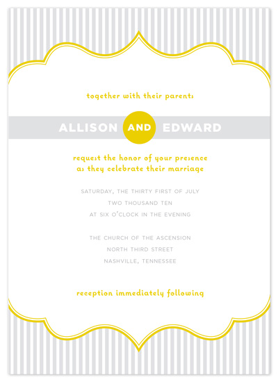 Wedding Invitations Modern Striped Frame