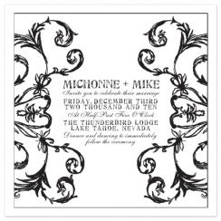 Achromatic Flourish Wedding Invitations