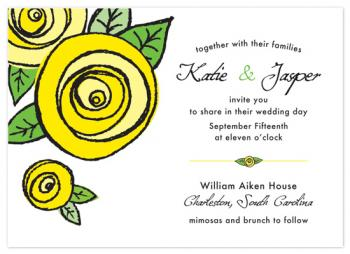 Yellow Rosette of Texas Wedding Invitations