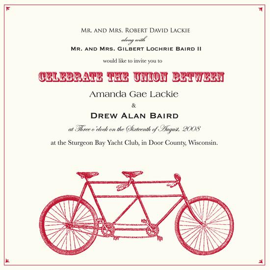 wedding invitations - A Bike Made For Two by Amanda Baird