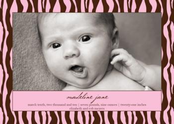 Pretty Pink Zebra Birth Announcements