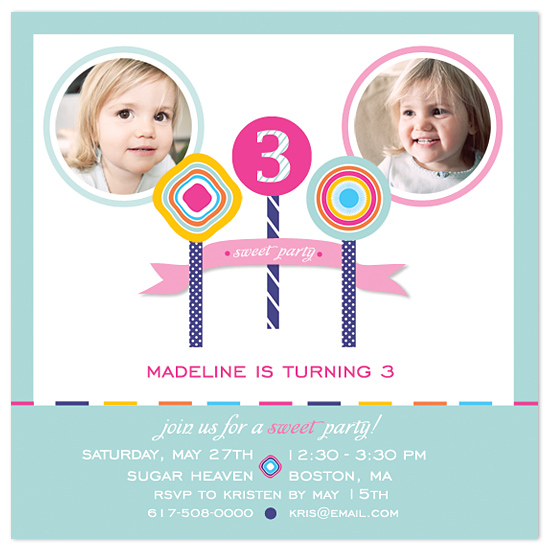 birthday party invitations - Sweet Lollies by MAGG + LOUIE