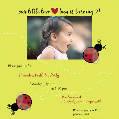 birthday party invitations - lovebug by Rosemary Maritote