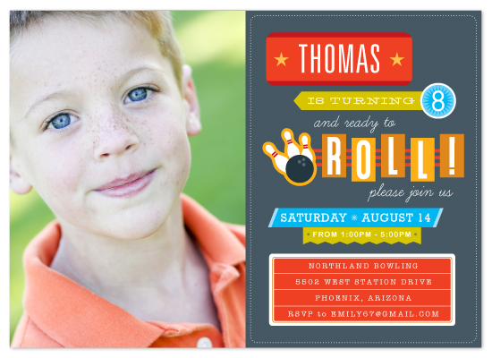 birthday party invitations - Ready to Roll! by Dish and Spoon