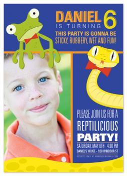 Reptilicious Birthday Party Invitations