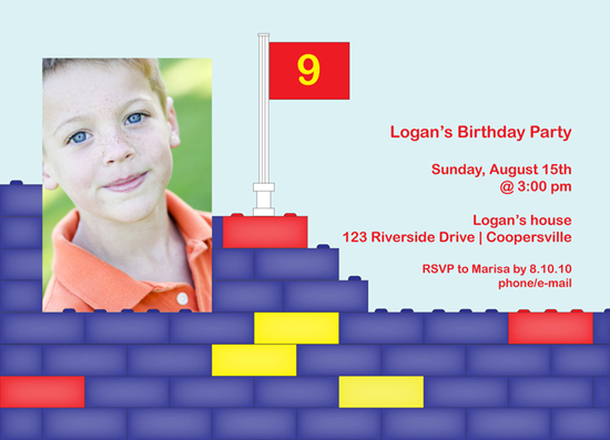 birthday party invitations - Lego Wall by Rosemary Maritote