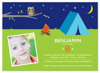 Camp Out! Birthday Party Invitations