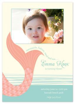 pink mermaid Birthday Party Invitations
