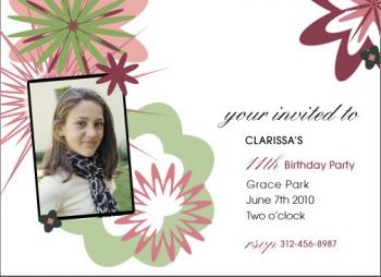 Pretty Flower Power Birthday Party Invitations
