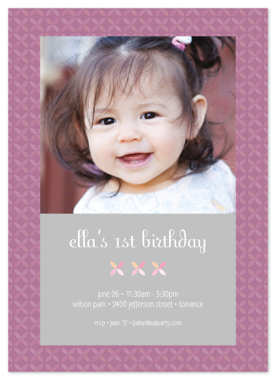 birthday party invitations - Modern Four Petal Flower by Sashi & Miko