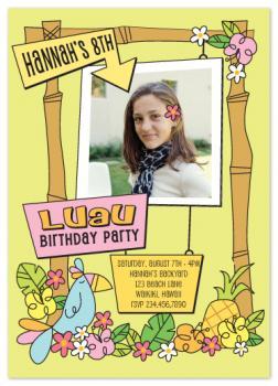 Funky Luau Birthday Party Invitations