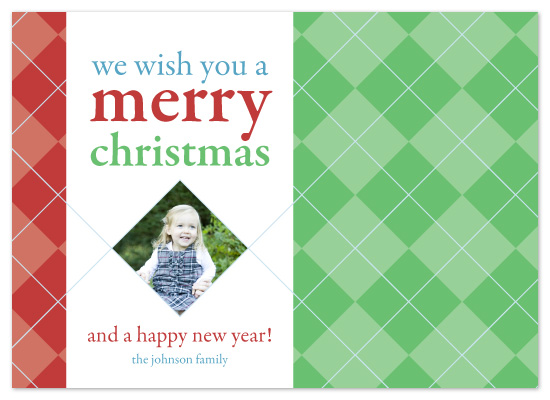 holiday photo cards - Argyle Christmas by Laura Hancko