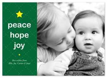 Peace, Hope & Joy for the Holidays Holiday Photo Cards
