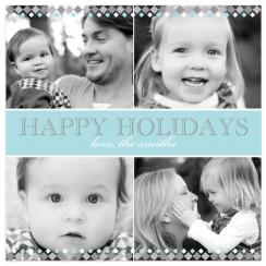 Silver Diamonds Holiday Photo Cards