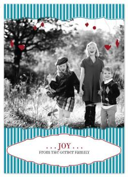 ornaments and stripes Holiday Photo Cards