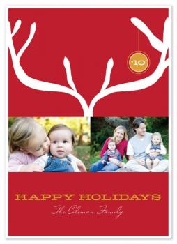 Modern Antlers Holiday Photo Cards