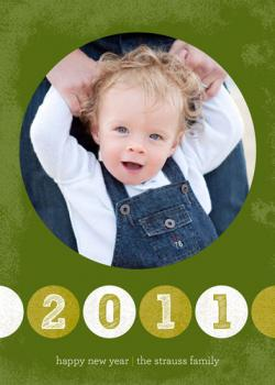 Green New Year Holiday Photo Cards